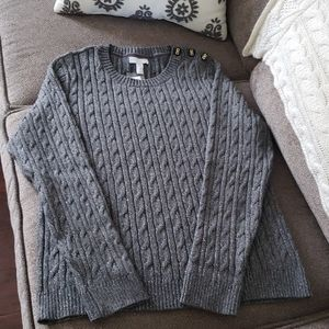 Charter Club gray & silver cable knit sweater